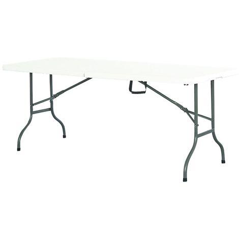 Table de réception plateau et pieds pliants 180cm Blanc - Blanc