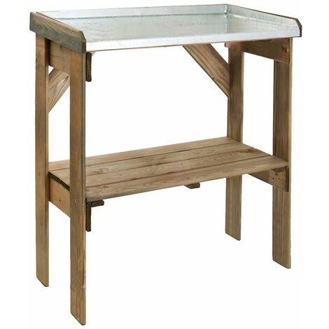 Table de rempotage bois et zinc Pratik - Naturel
