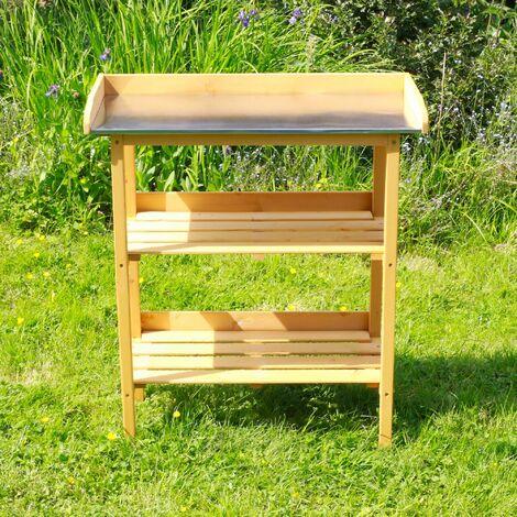 Table de Rempotage en Bois de Pin pour Rempoter et Bouter avec Plateau en Métal Galvanisé + 2 étagères sur votre Terrasse ou Balcon 76 x 37 x 92 CM - Naturel