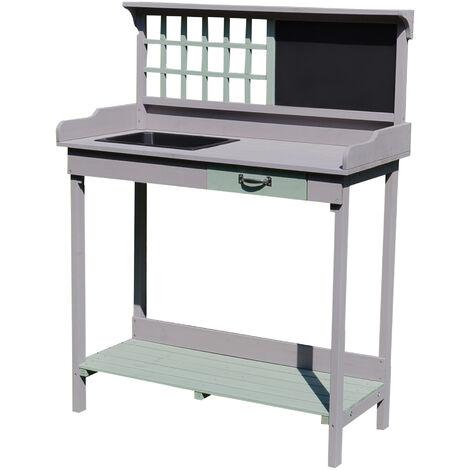 """main image of """"Table de rempotage jardinage multi-équipée tiroir, étagère, évier dim. 92L x 43l x 120H cm bois massif pin pré-huilé gris vert menthe"""""""