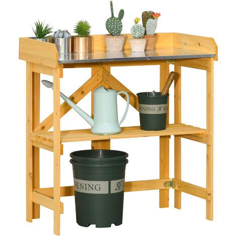 Table de rempotage jardinage pliable - étagère plateau acier galvanisé avec rebord - bois sapin pré-huilé