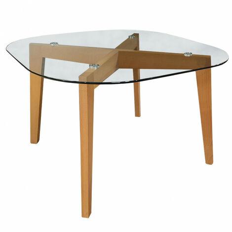 Table de repas 4 personnes en bois et plateau en verre - HEAVEN 3153 - Transparent