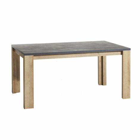 Table de repas rectangulaire 160x90 avec plateau en bois effet béton gris - VALENTINA - Gris et bois