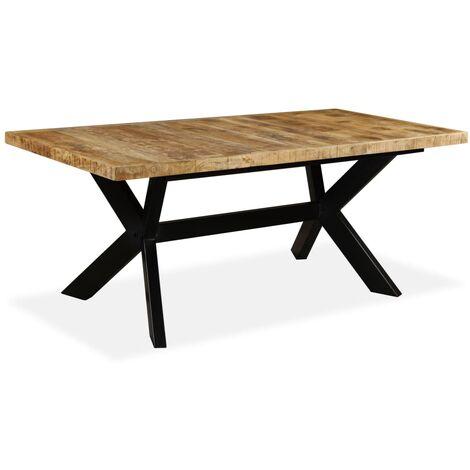 Table de salle à manger Bois de manguier solide et Acier 180 cm