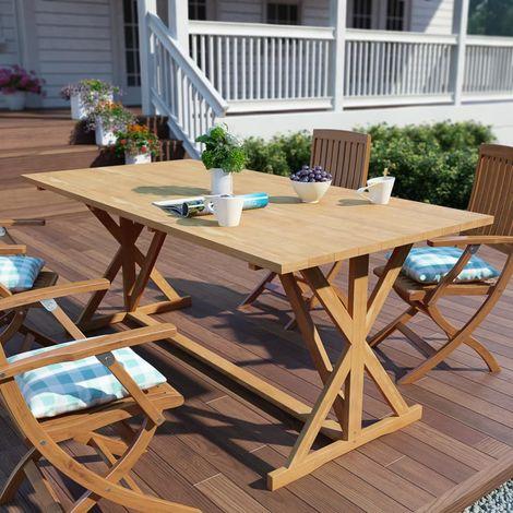 Table de salle à manger d\'extérieur Teck massif 180x90x75 cm ...