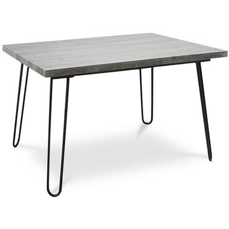 Table de salle à manger Hairpin 120x90 - Bois et métal Gris