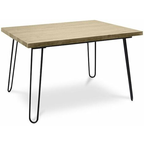 Table de salle à manger Hairpin 120x90 - Bois et métal Jaune