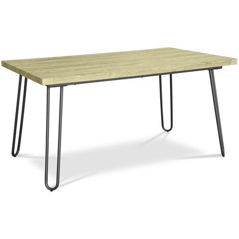 Table de salle à manger Hairpin 150x90 - Bois et métal Jaune