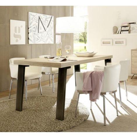 Table de salle à manger industrielle Alabama - Chêne clair, chêne blanchi ou marron