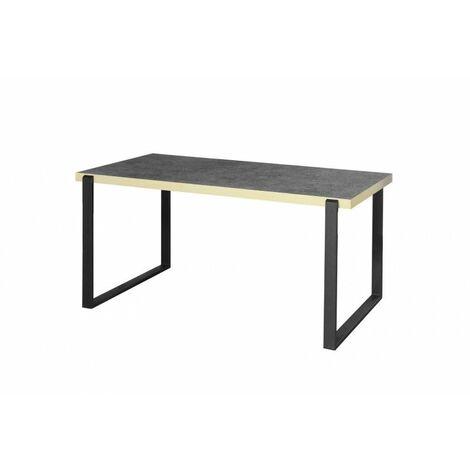 Table de salle à manger industrielle noir mat/béton Magnolia - Gris