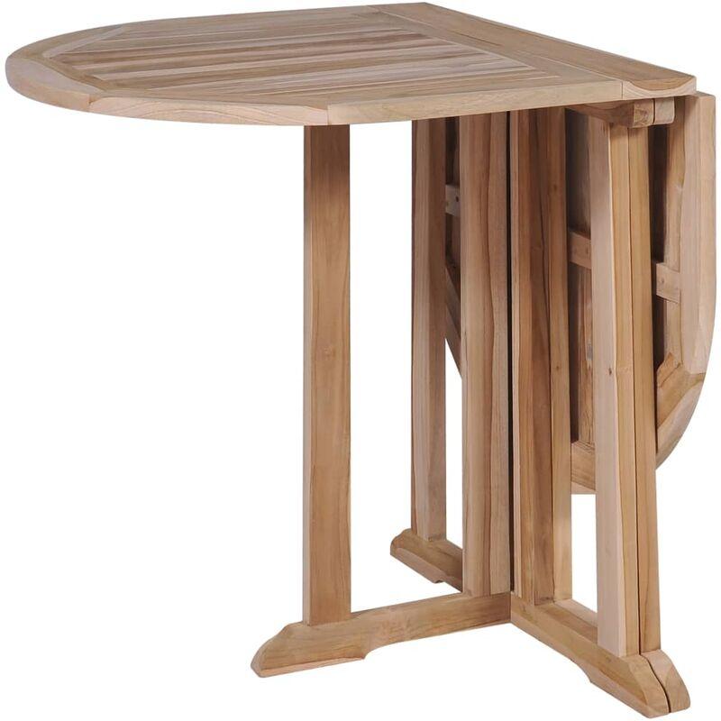 Table De Salle A Manger Pliante Teck Massif 120x70x75 Cm