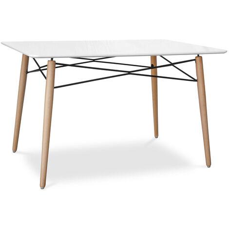 Table de salle à manger rectangulaire Deswick Blanc