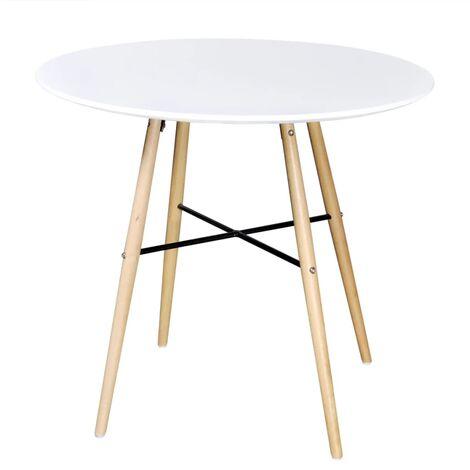 Table de salle à manger ronde MDF Blanc