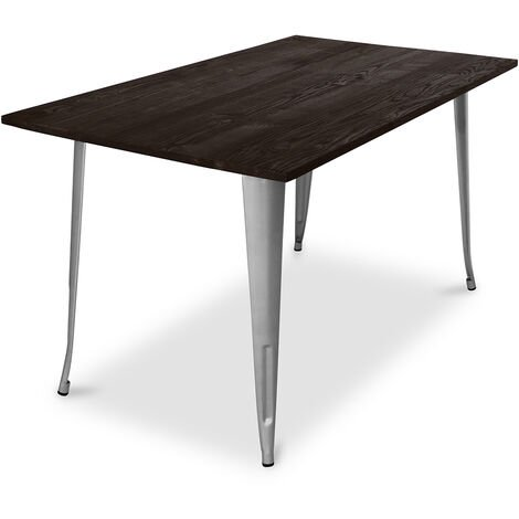 Table de salle à manger Style Tolix - 140 cm - Bois Foncé Acier