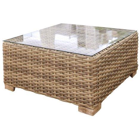 Table de salon de jardin carrée 80cm en résine tressée plateau en verre  SANTA CRUZ - L 80 x l 80 x H 38
