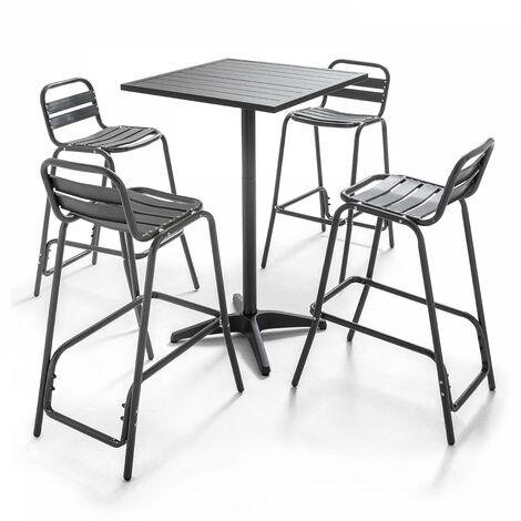 Table de terrasse haute carrée et 4 chaises hautes en aluminium Soho - Gris