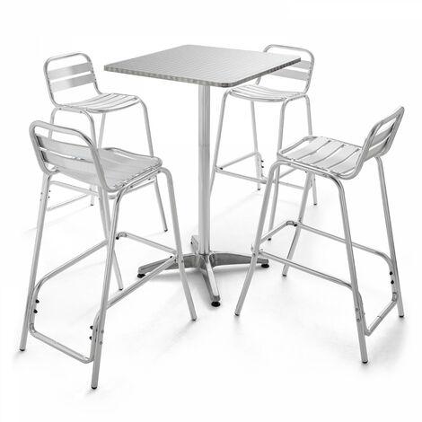 Table de terrasse haute carrée mange debout et 4 chaises hautes en aluminium Soho - Gris