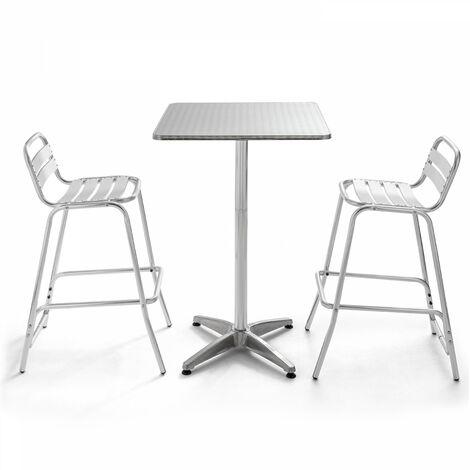 Table de terrasse mange debout carrée et 2 tabourets hauts en aluminium Soho - Gris