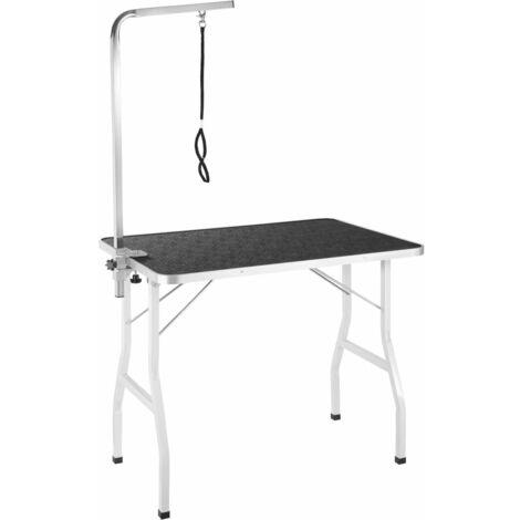 Table de toilettage avec potence noir/blanc 98 x 60 cm - Blanc
