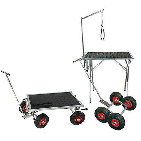 Table de toilettage avec roues gonflables Désignation : Table / Chariot MORIN 3418
