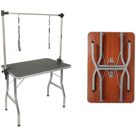 Table de Toilettage Pliante avec Double Sangle et Surface de Travail Antidérapante 90*76*60cm Noir