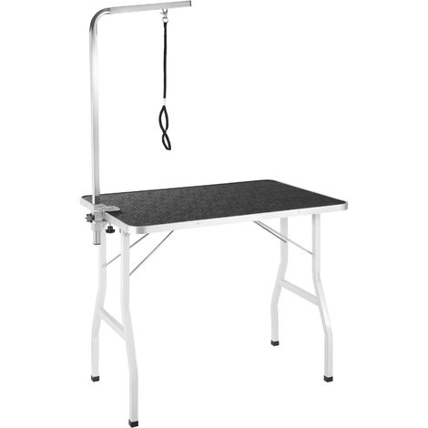 Table de Toilettage Pliante avec Sangle de Maintien et Surface de Travail Antidérapante Noir et Gris