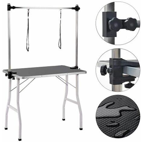Table de Toilettage Pliante,90*76*60cm,Avec deux élingues,Surface de Travail Antidérapante