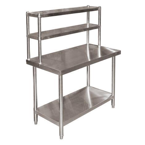 Table de travail acier inoxydable 120x60x85cm avec tag re - Table de travail reglable en hauteur ...