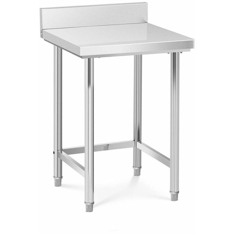 Table de travail cuisine professionnelle acier inox 64 x 64 cm avec dosseret capacité de charge de 200 kg