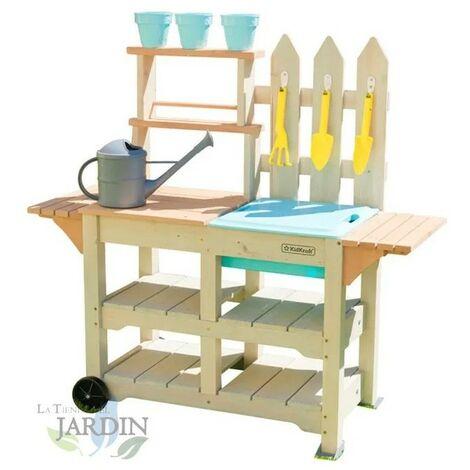 Table de travail de jardinage avec accessoires