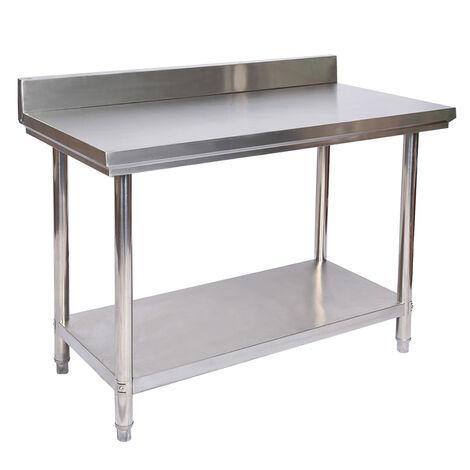 Table de travail en acier inoxydable avec rebord de protection 120 x 60 x 85 cm
