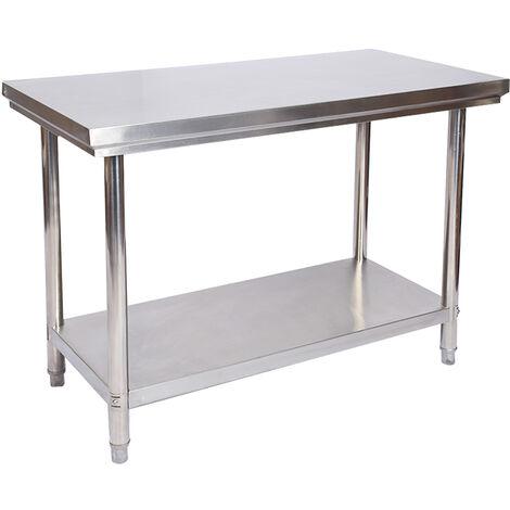 Table de travail en acier inoxydable Table de jardin 100 x 60 x 85 cm