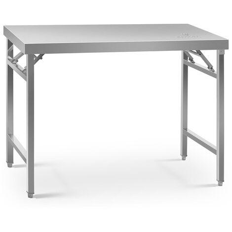 Table de travail pliable Capacité de 215 kg, Surface de 70x120cm Inox