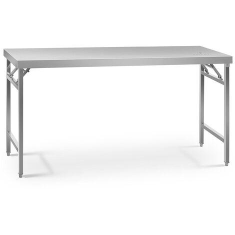 Table de travail pliable Capacité de 230 kg Surface de 60x180cm Inox