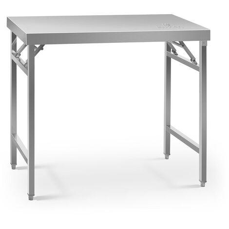 Table de travail pliable Surface 60x120cm Pieds réglables en hauteur Inox