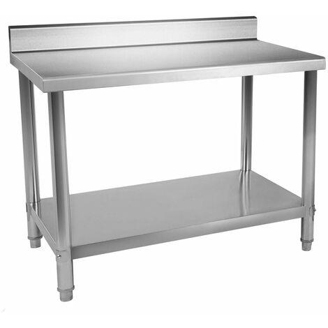 Table de travail professionnelle acier inox pieds ajustable avec rebord 120 x 60 cm