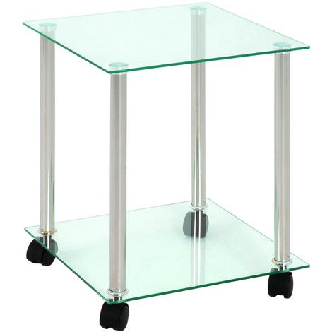 Table desserte en tube d'acier aluminium avec 2 plateaux en verre transparent, L35 x P35 x H45 cm
