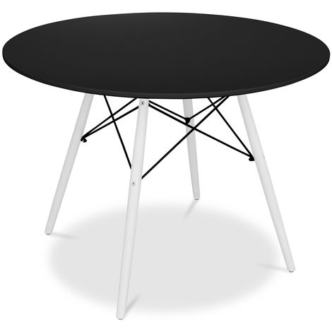 Table Deswick 100cm - Pieds Blancs Noir
