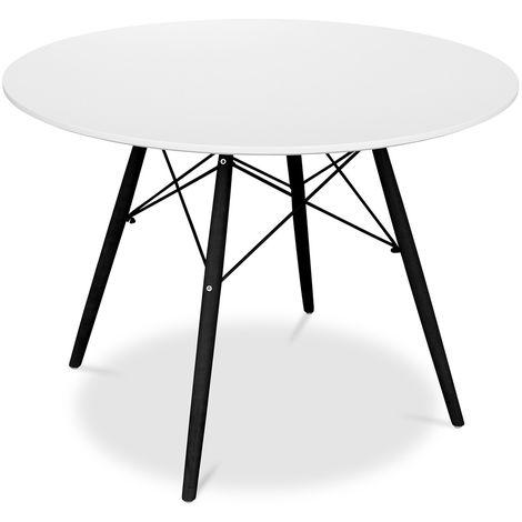 Table Deswick 100cm - Pieds Noirs Blanc
