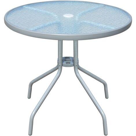 table d 39 ext rieur ronde 80 x 71 cm acier gris 43316. Black Bedroom Furniture Sets. Home Design Ideas
