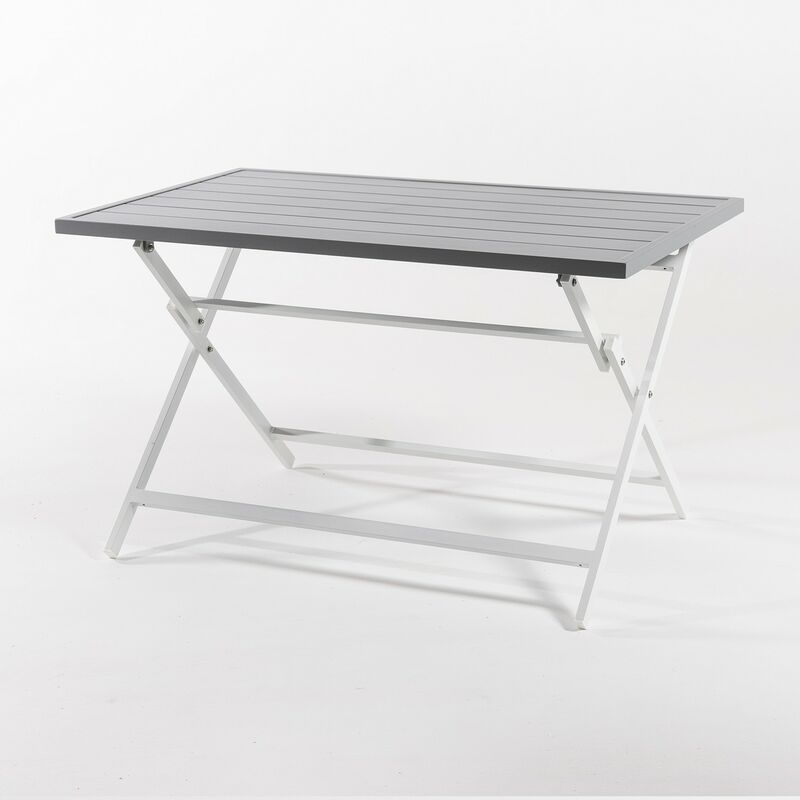 Table d'extérieur pliante carrée en aluminium couleur blanc 120 x 72 x 71 cm