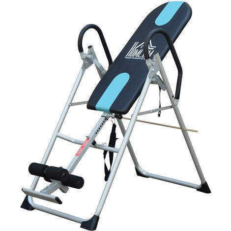 Table d'inversion de musculation pliable ceinture de sécurité réglable acier coloris argent noir