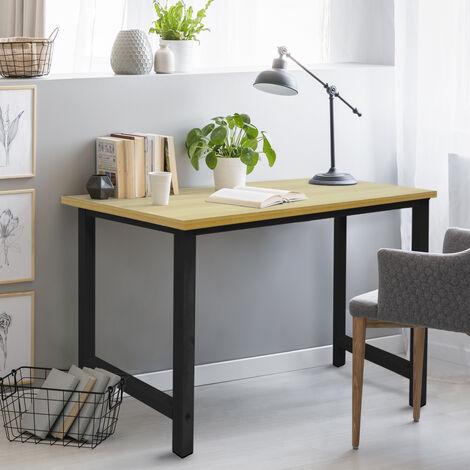 Table d'ordinateur bureau de travail MDF cadre en métal 120x60 cm érable noir