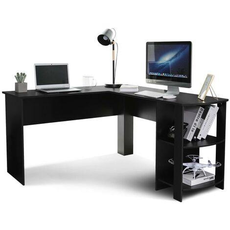 """main image of """"Table d'ordinateur d'angle, table de travail, bureau d'ordinateur en L-forme noir-Meerveil"""""""