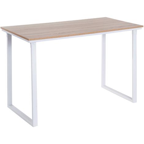 Table d'ordinateur L 120 x l 60 x H 75 cm chêne et blanc multifonction grand plateau cadre robuste en métal