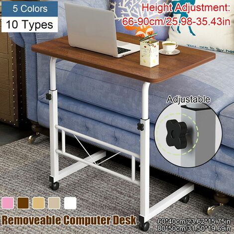 Table d'ordinateur portable en bois Bureau et roues Tuyau d'acier de levage mobile réglable (jaune clair, 60x40cm)