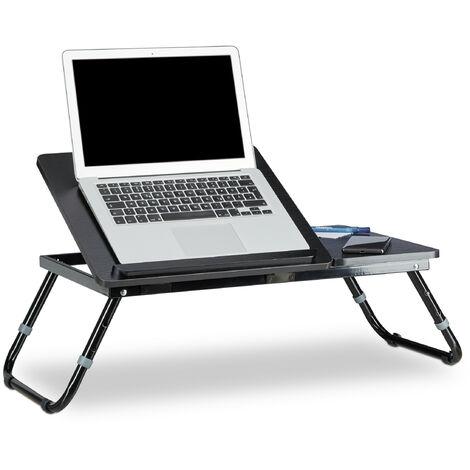 Table d'ordinateur portable pliable Noir Plateau de lit HxlxP: 40 x 75 x 35 cm hauteur réglable pieds pliants, noir