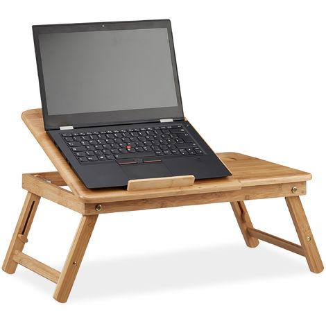 Table d'Ordinateur Portable pour Lit Hauteur Réglable, Plateau en Bambou avec Tiroir, 30x69x35cm, Nature