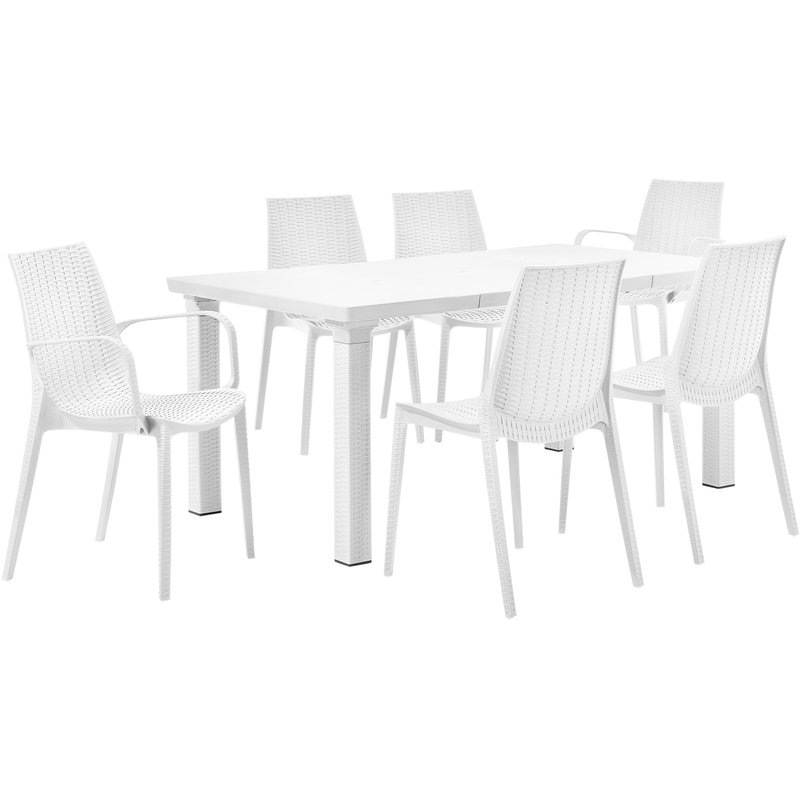 Table du jardin + 6 chaises - Garniture de siège avec l\'aspect du ...
