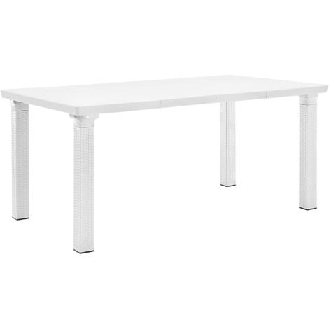 Table du jardin en aspect du rotin (Dimensions réglable) 164x95cm blanc